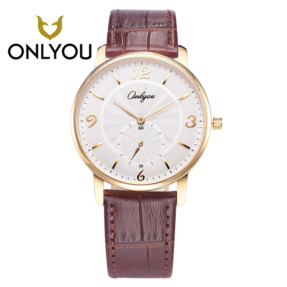 ONLYOU Mens Watch Casual Business Women Watches Waterproof Quartz Watch Male Wristwatches leather watchband Female Clock casual leather band mens watch fashion business analog display quartz wristwatches montre homme water resistant luminous clock