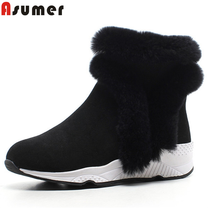 ASUMER 2018 fashion autumn winter boots round toe zip ankle boots for women fur suede leather boots wedges ladies snow boots asumer black fashion 2018 autumn winter boots women round toe zip mixed colors ankle boots flat with suede leather boots