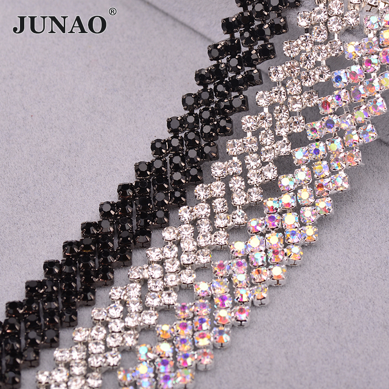 JUNAO SS16 Clear AB Glass Rhinestone Chain Tape Crystal Applique Sewing Metal Trim Banding Strass Ribbon For Clothes Jewelry