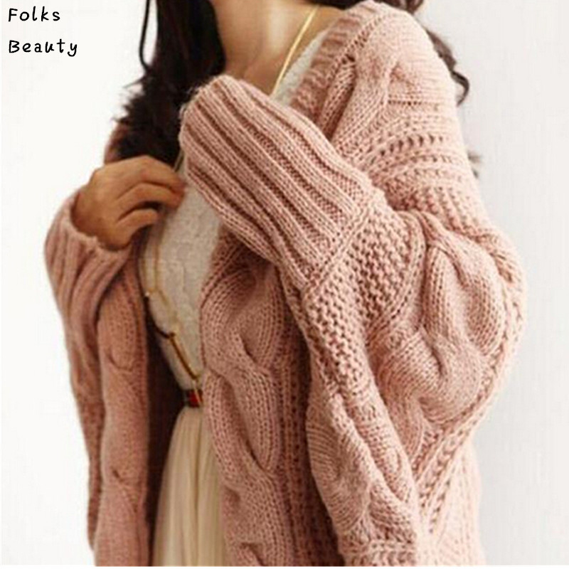 Autumn Winter Knitted Cardigans Coat Women 2017 Fashion Long Sleeve Batwing Poncho Sweater Beautiful Womans Crochet Cardigan
