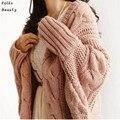 Otoño Invierno Mujeres 2015 de La Manera Hizo Punto Las Rebecas Escudo de Manga Larga Batwing Poncho Suéter Hermosa Mujer Crochet Cardigan