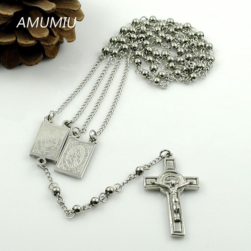 AMUMIU Gold Farbe Rosenkranz Perlen Jesus Stück Kreuz Religiöse - Modeschmuck - Foto 5