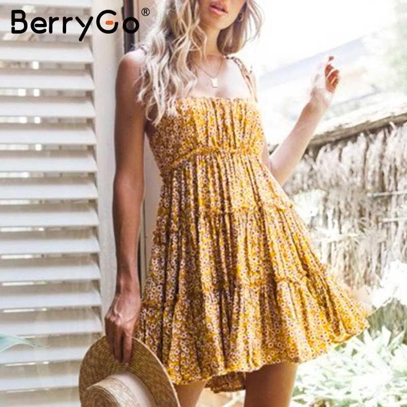 BerryGo в стиле бохо с высокой талией летнее платье для женщин цветочный принт Спагетти ремни Плюс Размер короткий пляжный сарафан для отдыха дамы vestidos
