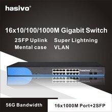 16 พอร์ต RJ45 Gigabit อะแด็ปเตอร์ lan switch ethernet switch 2x1000 M SFP Uplink