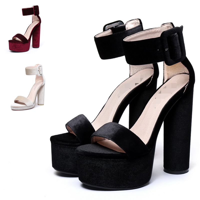 2017 Summer New arrived Ankle T- Strappy Thick 15CM high heel women Party Wedding Roma sandals Sexy Women pumps size 34-41 lf40203 sexy white pink blue strappy heart heel wedge wedding sandals sz 4 5 6 7 8 9 10