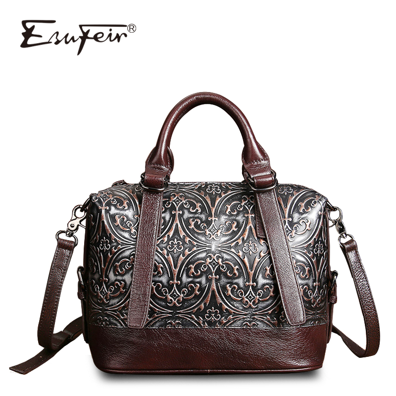 ESUFEIR Genuine Leather Luxury Handbags Women Boston Bags Designe Embossed Leather Shoulder Bag Pillow Bag Ladies Bag sac a main mce sports mens watches top brand luxury genuine leather automatic mechanical men watch classic male clocks high quality watch