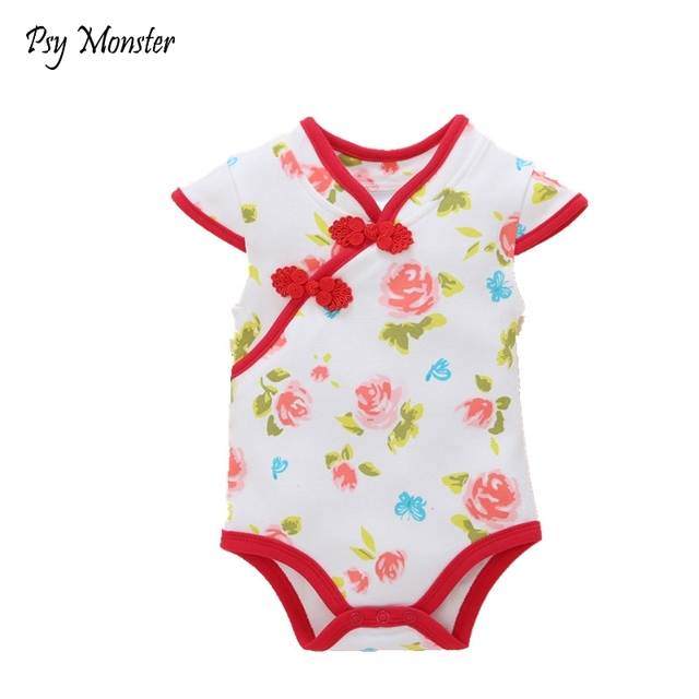 8c2acd039 US $11.72 25% OFF|2018 Baby Girls Rompers Infant Chinese Cheongsam Style  100% Cotton Jumpsuit Rose Floral Overall Cute Outfit Clothing G72-in  Rompers ...