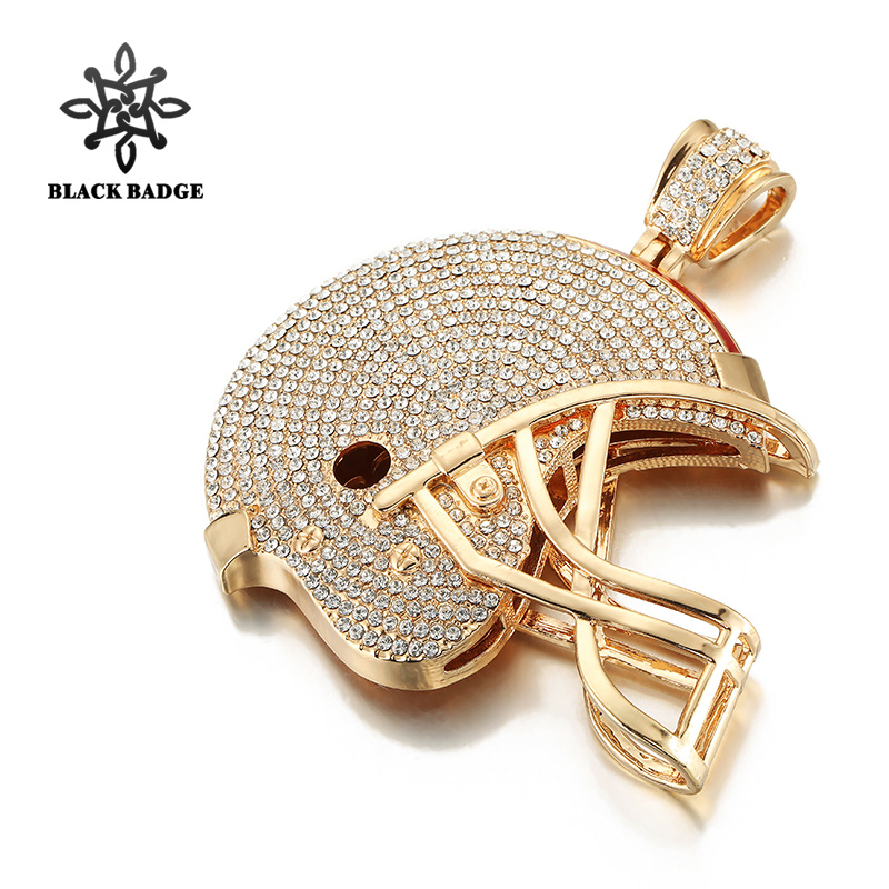 Black Badge Huge American Football Helmet Pendant Iced Out Full Crystal Necklace With Chain Ball Sport Hip Hop Jewelry For Men