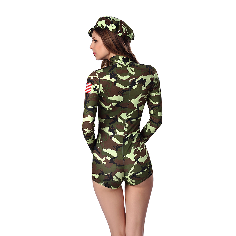 f29b0d2973806 Sexy Cool Girl Army Officer Costume Green Camouflage Bodysuit Short Leotard  Army Costume Military Uniform Halloween Costumes-in Holidays Costumes From .
