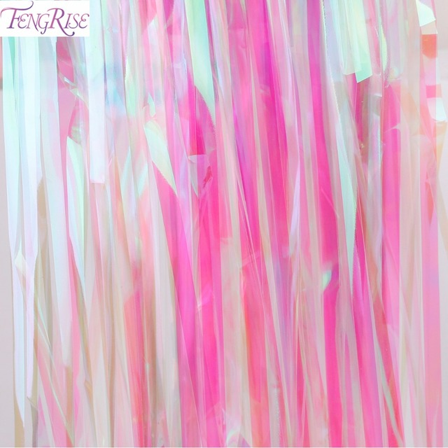 FENGRISE Rainbow 1x2M Foil Fringe Tinsel Curtain Tassel Garlands Wedding Decoration Backdrop Baby Shower Birthday Party Supplies
