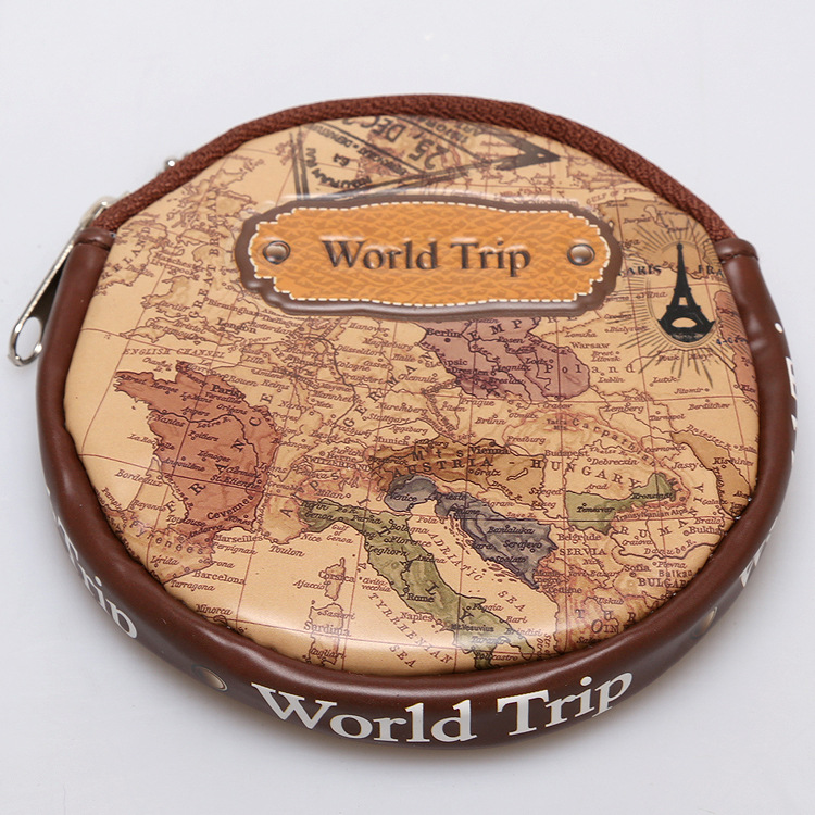 World Map Zero Wallet for travel, PU&PVC Hand Bag Purse for conis and key