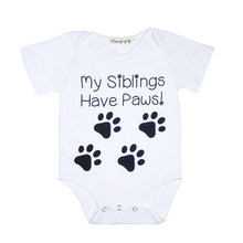 746038aec White Bodysuit Newborn Onesie My Siblings Have Paws Letter Print Short  Sleeves Baby Bodysuits Infant Clothes Baby Onesie
