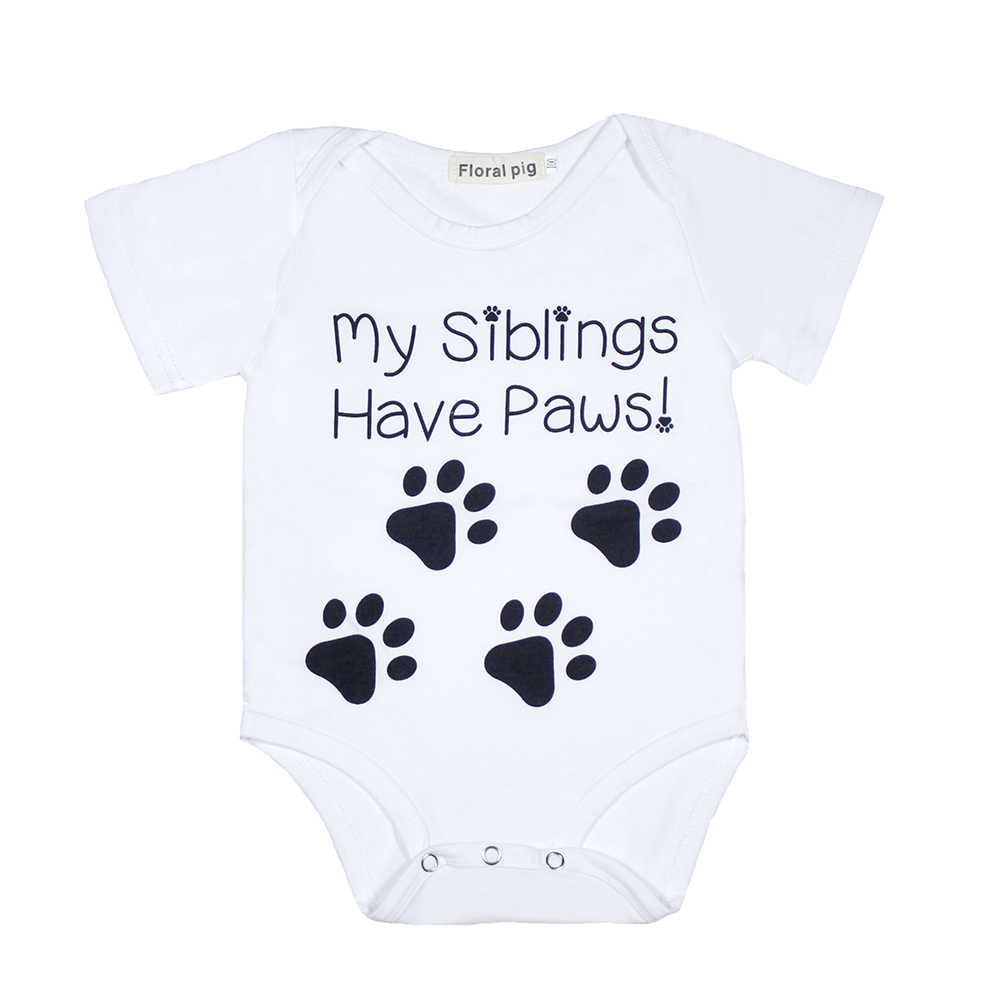 5edf7a401 White Bodysuit Newborn Onesie My Siblings Have Paws Letter Print Short  Sleeves Baby Bodysuits Infant Clothes