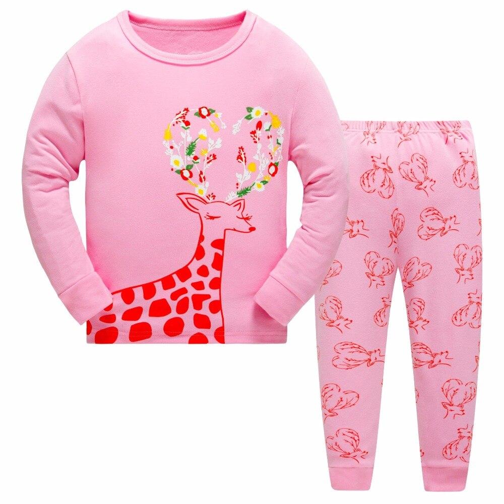 2017 Christmas Kids Pajama Sets Girls Deer pattern sleepwear Children Christmas Pajamas 2-7Y Children Clothing Sets