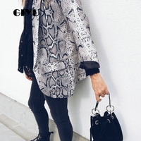 GIYU Women Snake Skin Printing Blazer Long Sleeve Notched Jackets Sexy Slim Tops Casual Camiseta Mujer