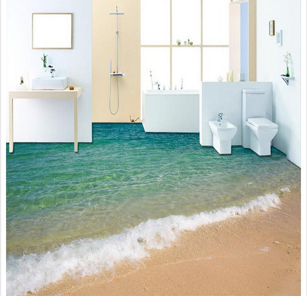 Custom photo Waterproof floor wallpaper 3 d sea surf beaches 3d mural PVC wallpaper self-adhesion floor wallpaer free shipping 3d surf sea water beach shell sea star living room bathroom office decoration floor wallpaper mural