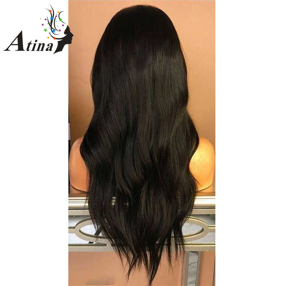 Объемные волнистые человеческие волосы парики с взрыва 150% плотность волосы Накладные натурального цвета волнистые бразильские волосы на фронте с предварительно сорванными детскими волосами Atina