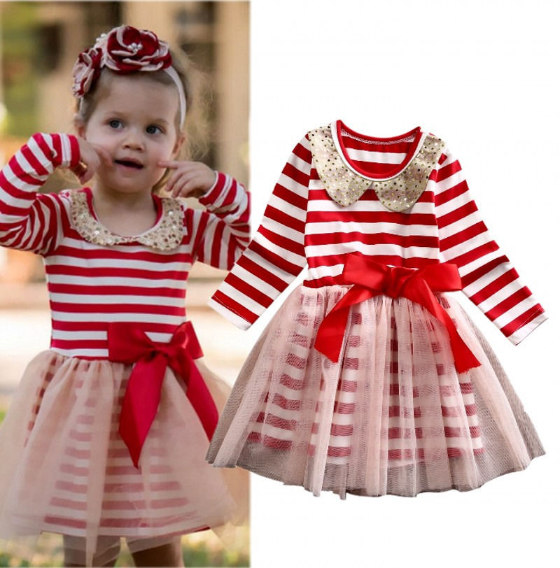 Toddler Kids Baby Girls Clothing Dresses Xmas Princess Stripe Bow Tulle Party Ball Gown Dress Long Sleeve Girl Clothes girl new party dress summer 2017 wedding tulle princess children ball clothing girls clothes toddler kids dresses size 6 7 8