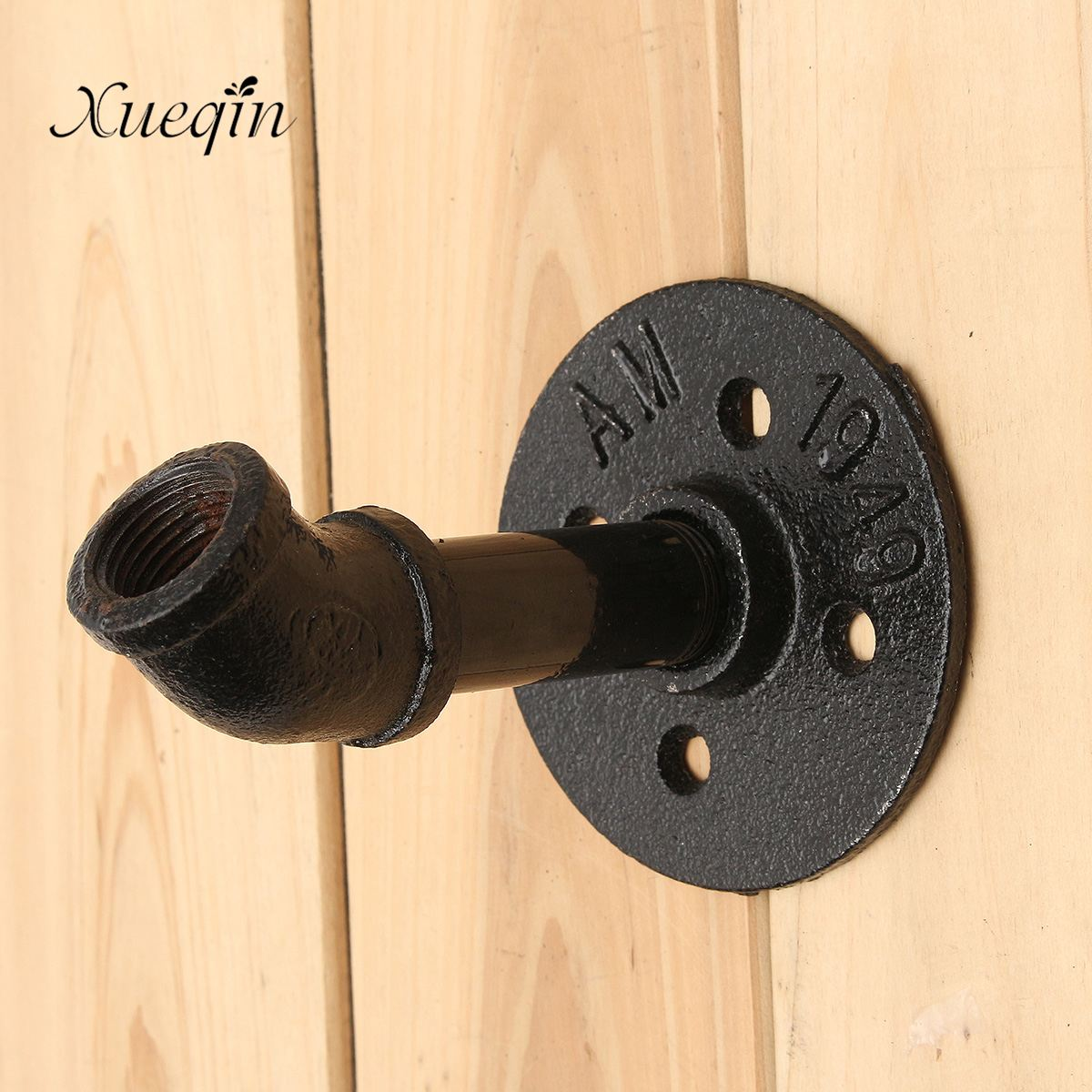 xueqin Industrial Rustic Style Black Cast Iron Pipe Cloth Coat Hook Hanger Wall Mount Rack Holder Bathroom Accessories