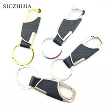 Leather and Metal Alloy Buckle Mens Black Car Keychain for Honda CRV Accord Odeysey Crosstour FIT Jazz City Civic JADE Crider(China)