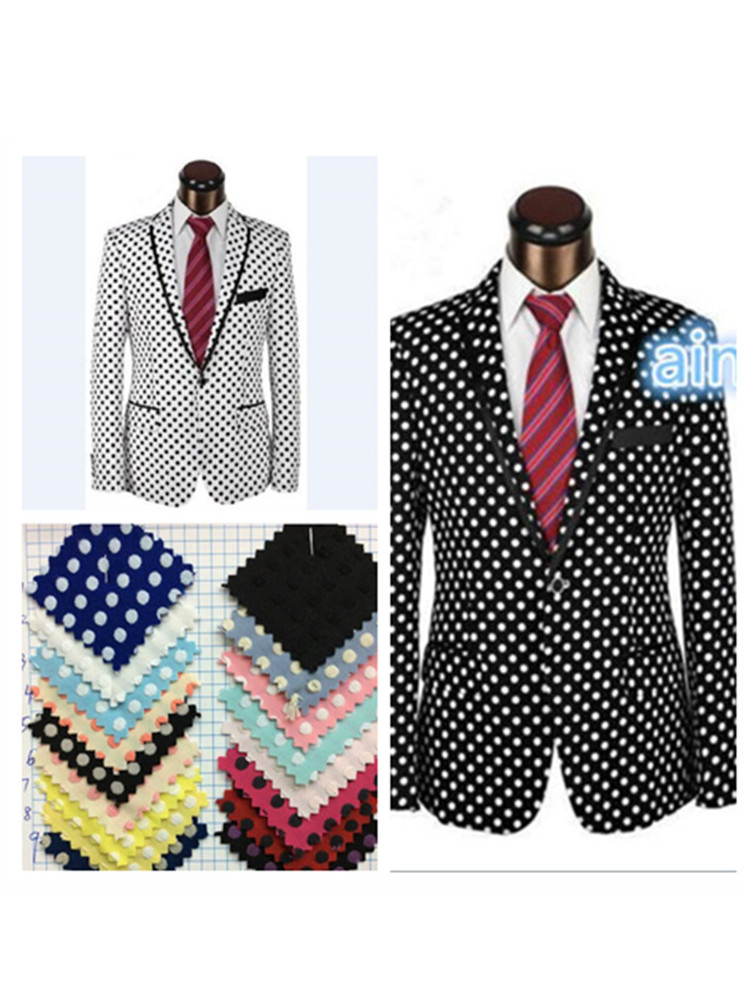 Men's New Suit Black And White Groom Tuxedo Business Casual Suit With Black And White Dot Pattern Custom Jacket + Pants