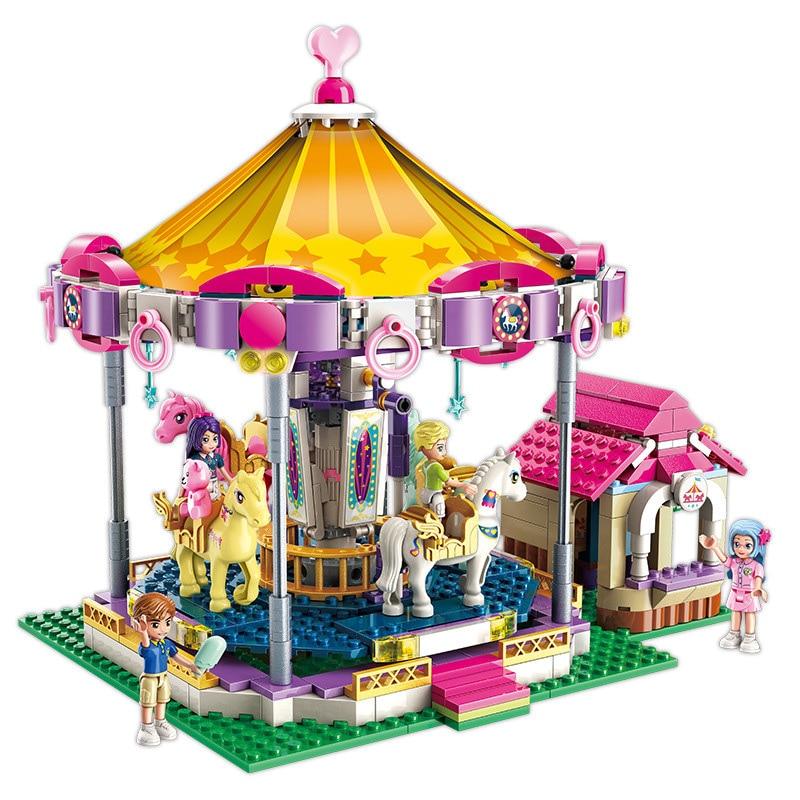 646pcs Fantasy carousel building blocks toy Compatible friends city For Girls DIY figures Bricks Educational Toys