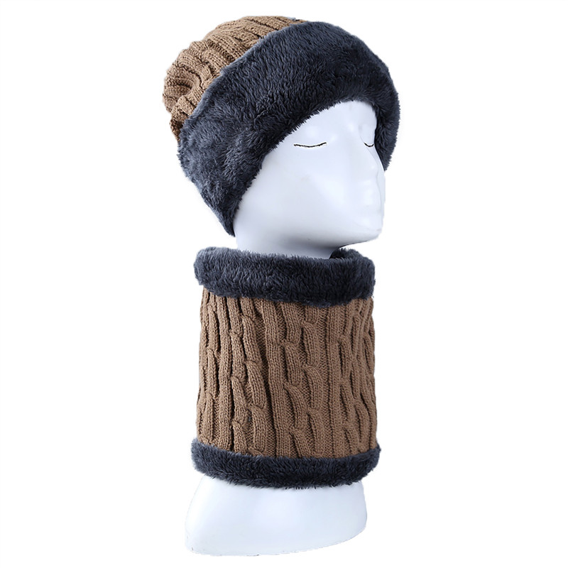 AZUE Neck Warmer Winter Hat Scarf Warm Knit Fleece Cap Scarf Knit Hat Beanies Scarf Set