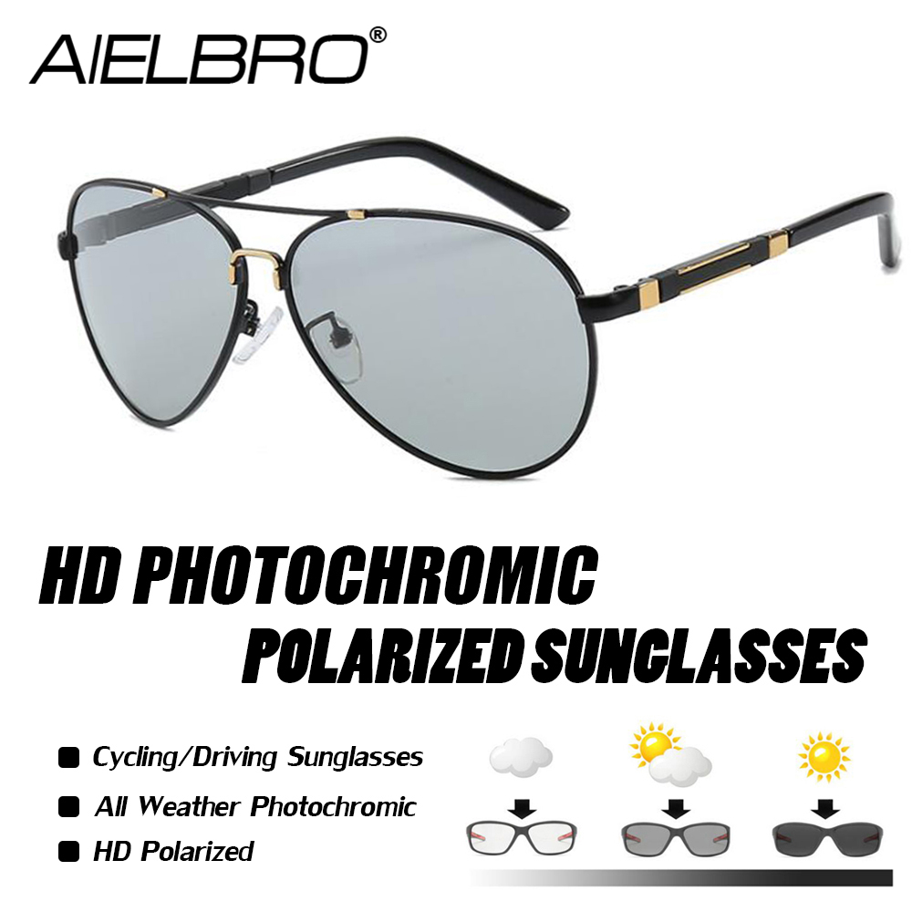 AIELBRO Brand Designer Men Photochromic Pilot Sunglasses Driving Driver Polarized Goggles Metal Glasses