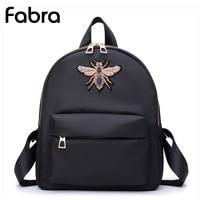 Fabra Small Waterproof Nylon Women Backpack Fashion Black Shoulder Back Bag Preppy Style Backpacks For Teenager