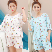 Women Pajama Sets Thin Womens Cotton Pajamas Short Sleeve Sleepwear Round Neck Bow Suit Summer Casual Homewear