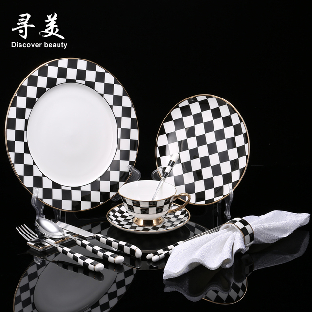 1 Set Lotcontinental Creative Fashional Black White Bone China