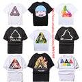 2017 nova versão palácio skate t-shirt das mulheres dos homens tendências da moda verão marca hip hop clothing triângulo algodão palácio t-shirt