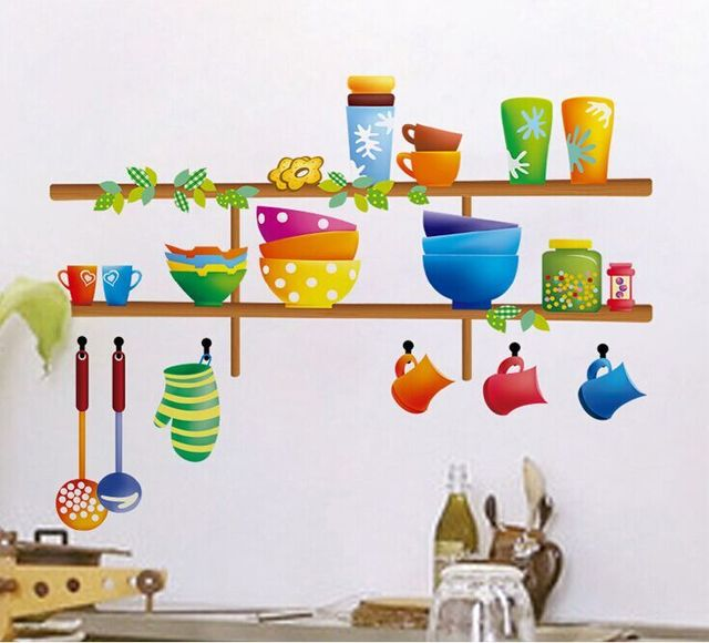 Cartoon Kitchen Furniture: New Cartoon Kitchen Restaurant Home Kitchen Wall Stickers