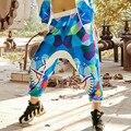 Hip Hop Pantalones Loose Women Casual Pantalones Impresos Mujeres Baggy Cargo Harem Pantalones Más El Tamaño 2016 Nueva Moda de Ropa de Baile