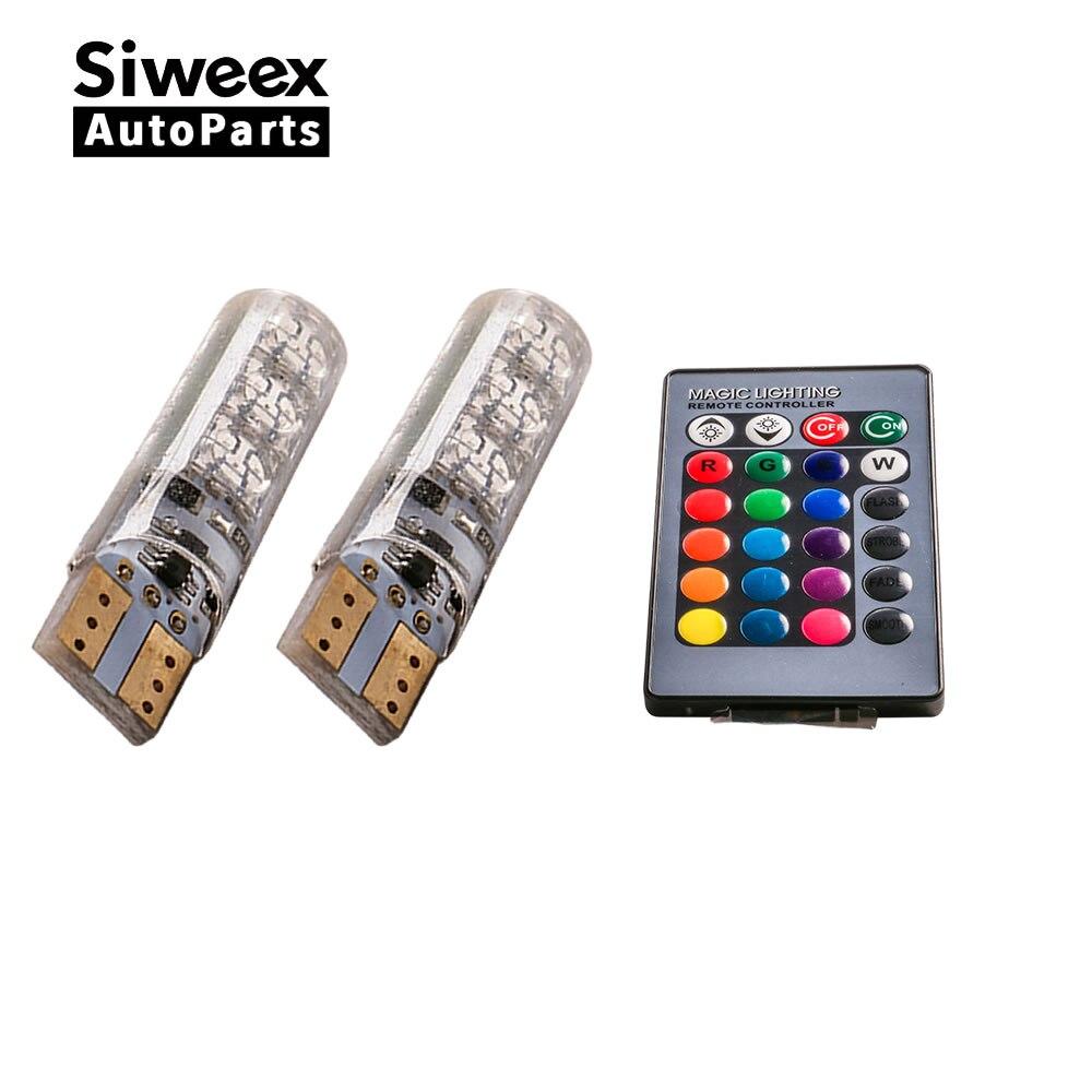 2шт новый красочный автомобиль свет T10 5050 6SMD RGB Сид W5W и авто инструмент габаритные огни Ширина Лампа автомобиль аксессуары пульт дистанционного управления