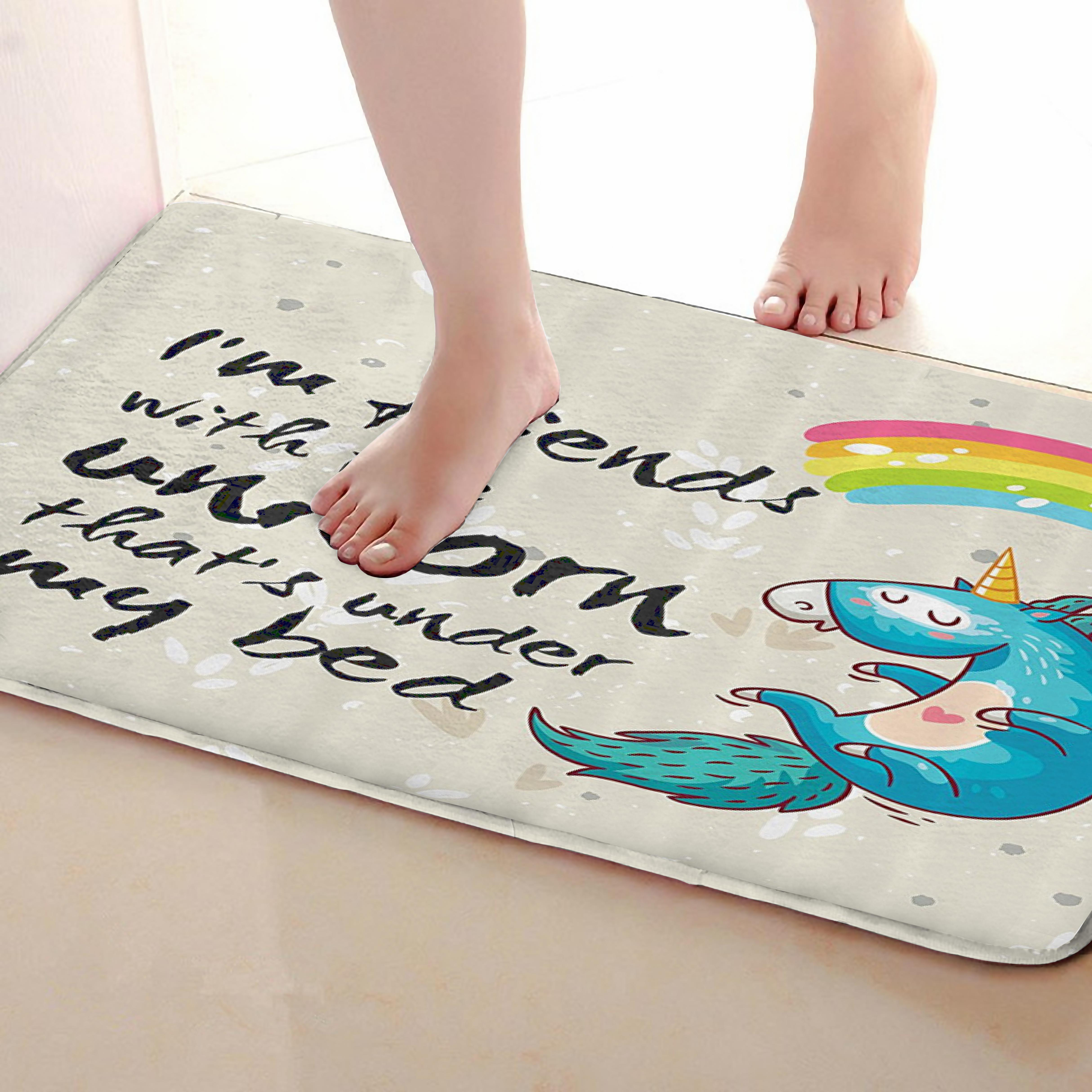 Unicorn Style Bathroom Mat,Funny Anti Skid Bath Mat,Shower Curtains Accessories,Matching Your Shower Curtain