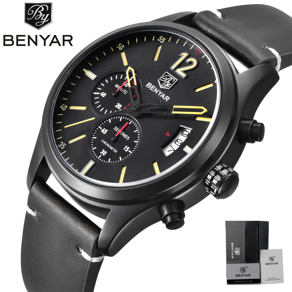 BENYAR Sport Watches Men Military Waterproof Wristwatch Quartz Watch Date Display Genuine Leather Band relojes hombre 2017 Gifts ak military canvas band waterproof quartz sport watch
