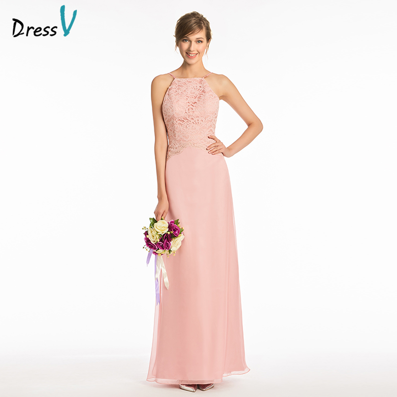 Dressv pink sample sheath bridesmaid dress spaghetti strapless backless wedding party women floor length lace bridesmaid dress