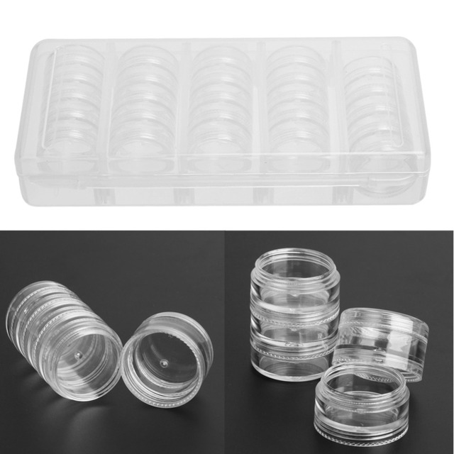 Transparent Empty Nail Art Tip Glitter Boxes Storage 25 Compartments ...