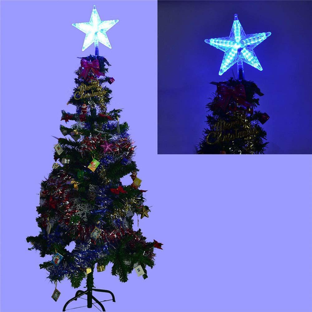 Colorful changing xmas christmas tree topper star light led lamp