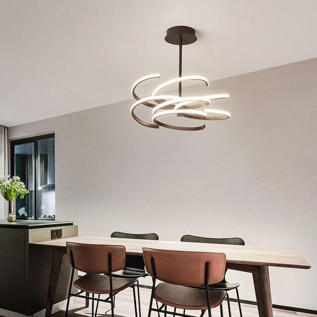 Luz de atenuación led araña de techo comedor sala de estar dormitorio  cocina lámpara estante de café moderna lámpara de araña LED