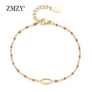 Image 4 - ZMZY 7pcs Mixed Color Boho Evil Eye Charm Vintage Stainless Steel Bracelet Women Gold Color Chain Bracelets Bangles Jewelry