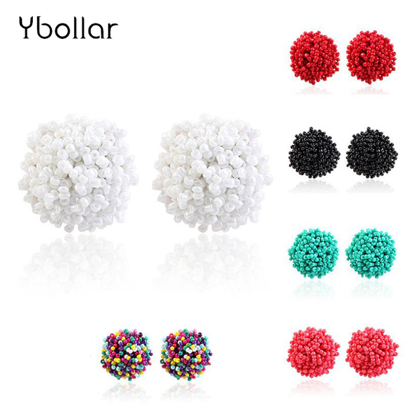 Simple Multicolor Round Earrings For Women Bohemia Handmade Beaded Earrings Ear Studs Wedding Party Accessories Jewelry in Stud Earrings from Jewelry Accessories