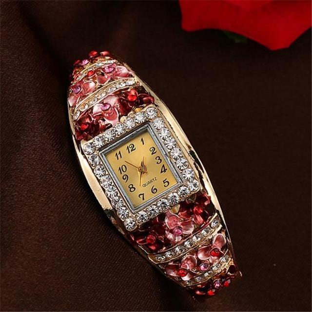 Fashion Brand Watch Women Quartz Luxury Crystal Flower Bracelet Watch Ladies Wat