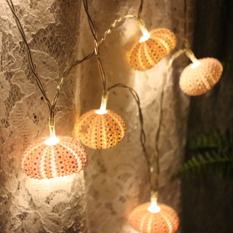 Gratis frakt (1 stk / lot) Pink Sea Urchin LED Light String Natural Shell Bryllup & Jul Dekor Håndlaget Craft Party Supplies
