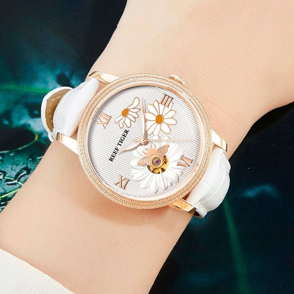 Reef Tiger RT 2018 New Fashion Women Watch Automatic Watches Leather Strap Rose Gold Diamond Watch