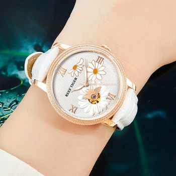 Reef Tiger/RT 2019 New Fashion Women Watch Automatic Watches Leather Strap Rose Gold Diamond Watch Relogio Feminino RGA1585 - DISCOUNT ITEM  30% OFF All Category