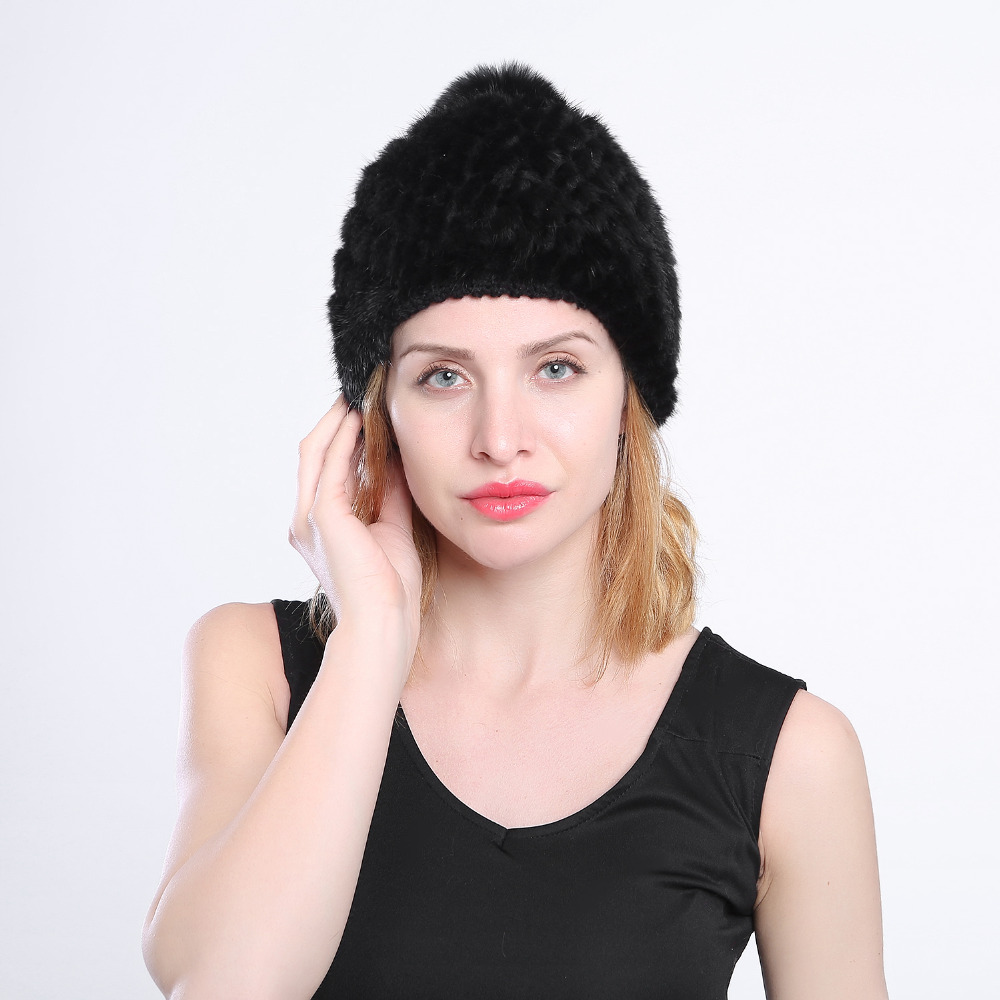 Hot sale real mink fur hat for women winter knitted mink fur beanies cap with fox fur pom poms 2016 brand new thick female cap  цена и фото
