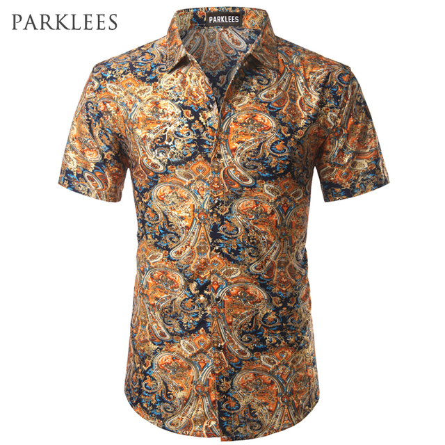 185e51c9a49 Velvet Paisley Shirt Men 2017 Luxury Brand Design Silk Mens Dress Shirts  Casual Slim Fit Golden Foil Print Floral Chemise Homme