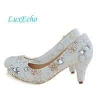 2014 Pearl Bridal Shoes WOMEN Rhinestone Wedding Shoes Female Flower Round Toe Single Pumps High Heels